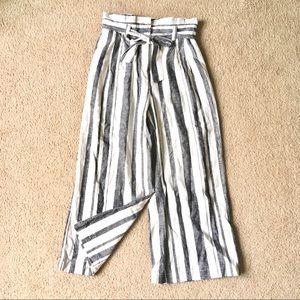 Striped wide leg pants paper bag tie bow waist